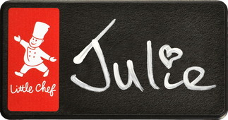 Chalkboard name badges - Black border and red background | www.namebadgesinternational.ae